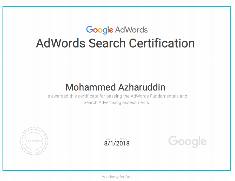 google adwords certificate, sample adwords certificate