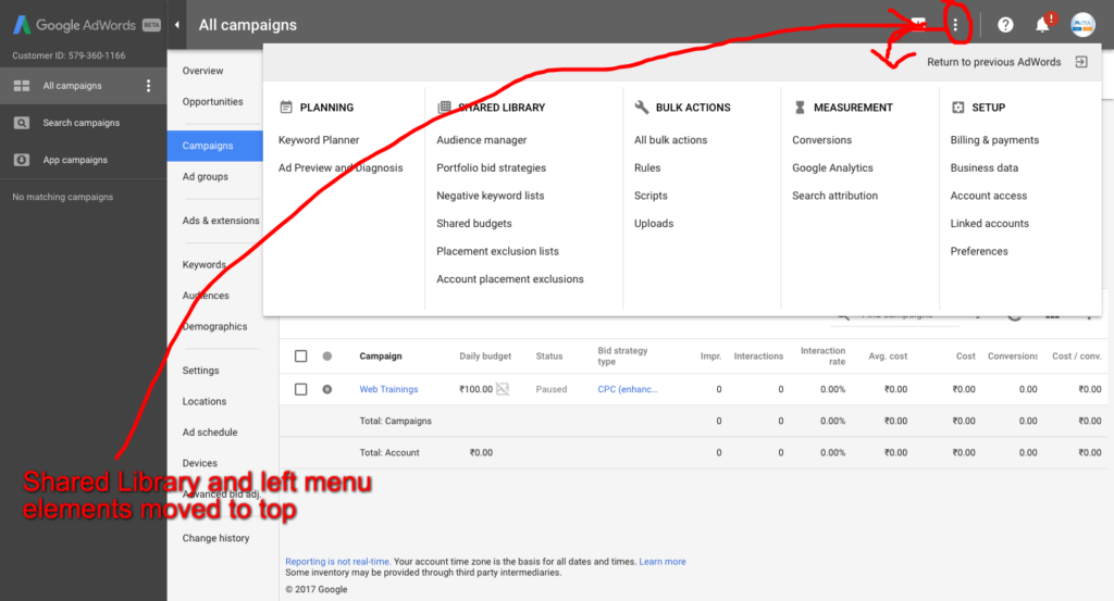 Google AdWords Beta Design Interface