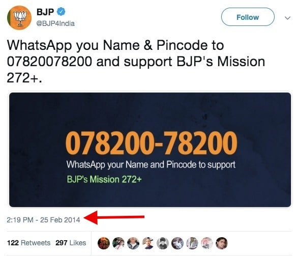 BJP WhatsApp Registration