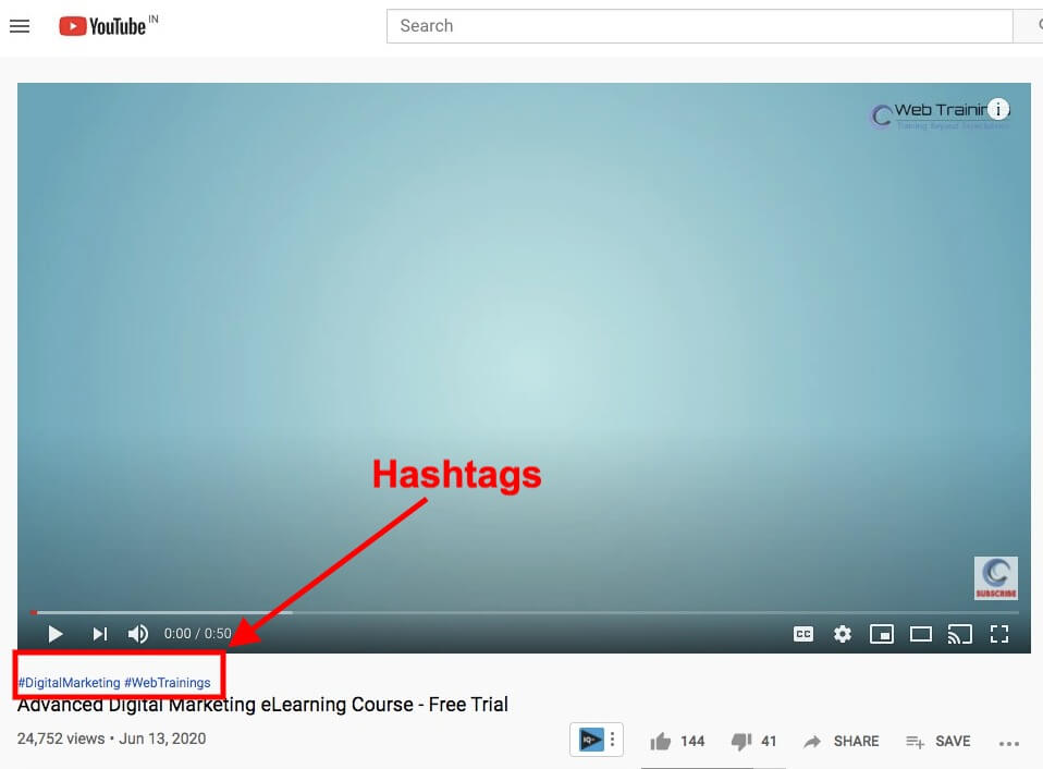 YouTube Hashtags Examples