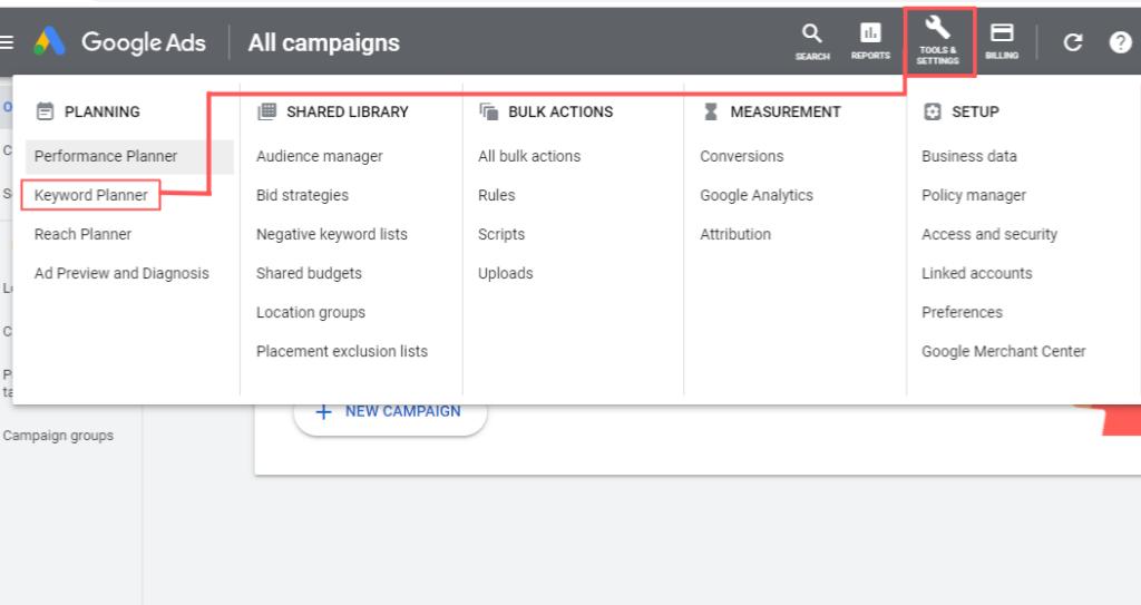Google Ads Keyword Planner Tool