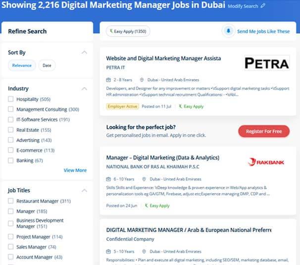 Digital marketing jobs in Dubai
